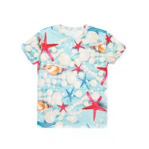 Casual Pullover Round Collar 3D Starfish Printed T-Shirt For Men -