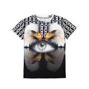 Casual Pullover Round Collar 3D Bird Printed T-Shirt For Men -