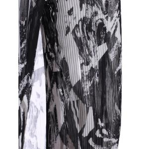 Trendy Hollow Out Button Design Black Blouse + Elastic Waist Printed Pleated Pants Women's Twinset -