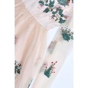 Floral Embroidered Mini Tulle Dress -