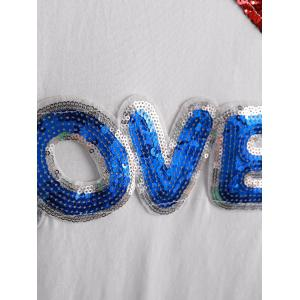 Stylish Short Sleeve Jewel Neck Sequined T-Shirt For Women -