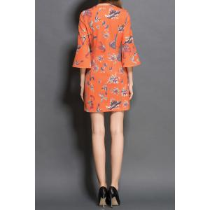 Butterfly Print Front Zippered Dress -