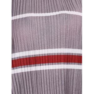 Fashionable Round Neck Short Sleeve Striped Pleated Women's T-Shirt -