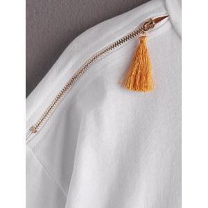 Stylish Zippered Tassel Embellished Tee For Women -