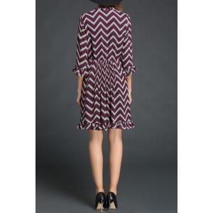 Chevron Pattern Flounced Dress -