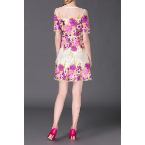 Flower Embroidered A Line Mini Dress -