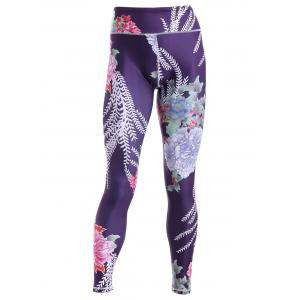 Sporty Floral Print Slimming Pants For Women - BLACK S