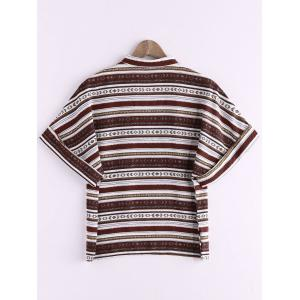 Ethnic Style V Neck Striped Color Block Women's T-Shirt -
