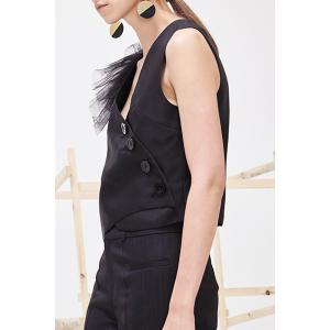 Ruffled Gauze Sheath Vest -