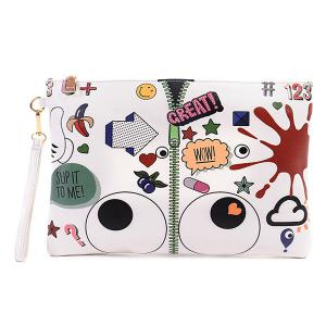 Stylish Zip and Print Design Clutch Bag For Women - White