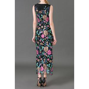 Flower Embroidered Maxi Sleeveless Dress -
