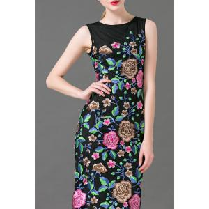 Flower Embroidered Maxi Sleeveless Dress - BLACK XL