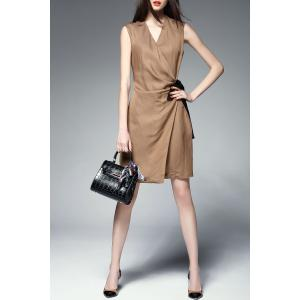V-Neck Self Tie Wrap Dress -