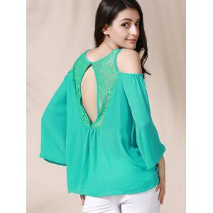 Stylish Lace Cut Out  Loose-Fitting 3/4 Sleeve Chiffon Blouse For Women -