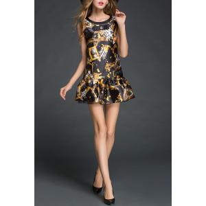 Sleeveless Bowknot Print Dress -