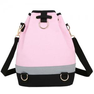 Casual Color Block and Drawstring Design Satchel For Women -