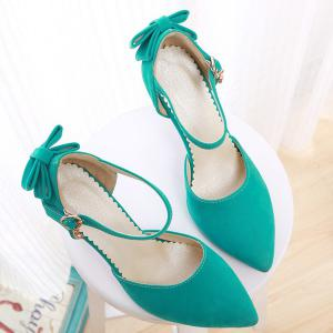 Fashion Bowknot and Two-Piece Design Pumps For Women - GREEN 39
