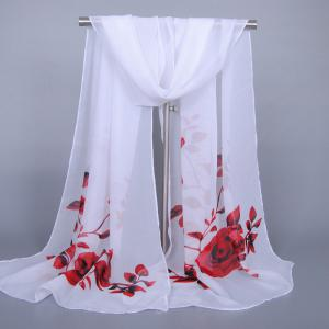 Chic Red Roses and Leaves Pattern Chiffon Scarf For Women
