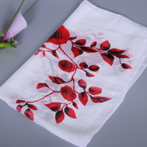 Chic Red Roses and Leaves Pattern Chiffon Scarf For Women - WHITE