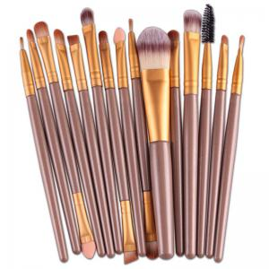 Stylish 15 Pcs Plastic Handle Nylon Makeup Brushes Set - Light Coffee