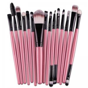 Stylish Multifunction 15 Pcs Plastic Handle Nylon Makeup Brushes Set
