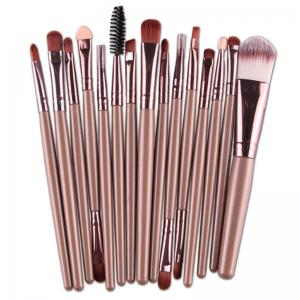 Stylish 15 Pcs Multifunction Plastic Handle Nylon Makeup Brushes Set - Light Coffee