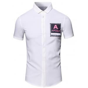 Turn-Down Collar Letters Printed Short Sleeve Cotton+Linen Shirt For Men