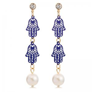 Pair of Palm Rhinestone Faux Pearl Drop Earrings