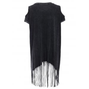 Stylish Open Shoulder Fringed Tee For Women -