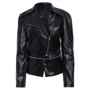 Zipper Up Faux Leather Biker Jacket
