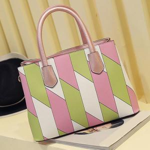 Elegant Color Block and Checked Design Tote Bag For Women -