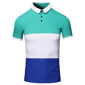 Turn-Down Collar Color Block Splicing Design Short Sleeve Cotton+Linen Polo T-Shirt For Men - Green - Xl