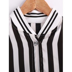 Stylish Stand Collar Short Sleeve Striped Blouse For Women -