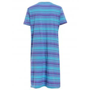Stylish Round Collar Short Sleeve Striped High Low T-Shirt For Women -