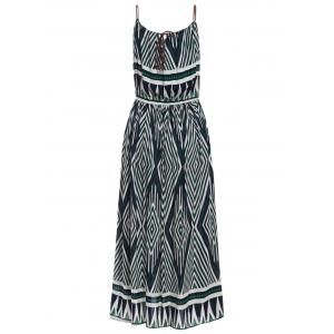 Bohemian Spaghetti Strap Geometric Print Ankle Dress For Women -