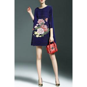 Floral Pattern Oversized Dress - SAPPHIRE BLUE ONE SIZE(FIT SIZE XS TO M)