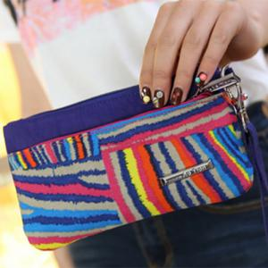 Casual Colorful Stripe and Nylon Design Clutch Bag For Women -