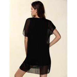 Chic Women's Short Sleeve Voile Spliced T-Shirt Dress + Tank Top -