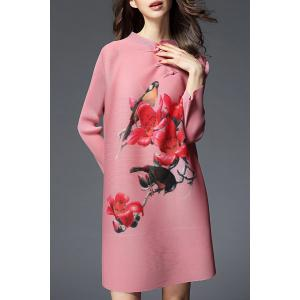 Long Sleeve Floral Shift Dress -