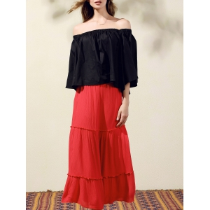 Stylish Off-The-Shoulder Bell Sleeve Women's Crop Top - Black - One Size(fit Size Xs To M)