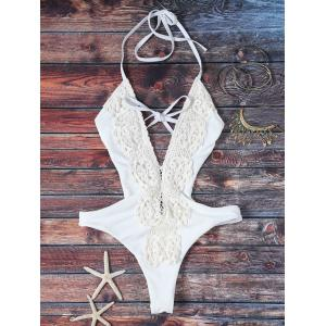 Trendy Plunging Neck High Cut Lace Spliced One Piece Swimwear For Women