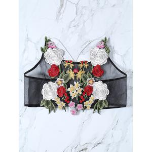 Cami See-Through Floral Embroidery Crop Top