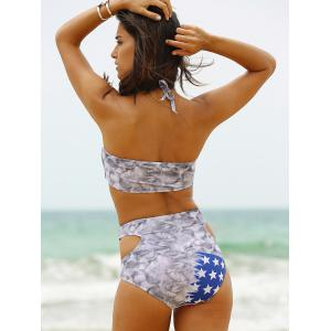 Sporty Hollow Out  American Flag Patriotic Swimwear -