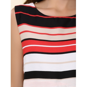 Chic Women's Jewel Neck Sleeveless Furcal Tank Top + Striped Shorts -