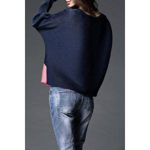Batwing Sleeve Pleated Blouse - PURPLISH BLUE ONE SIZE(FIT SIZE XS TO M)