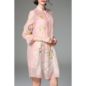 Lantern Sleeve Floral Embroidery Dress -