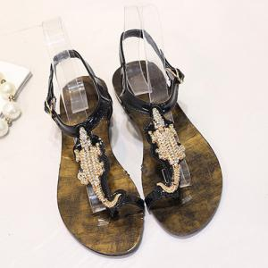 Stylish Metal and Rhinestone Design Sandals For Women -