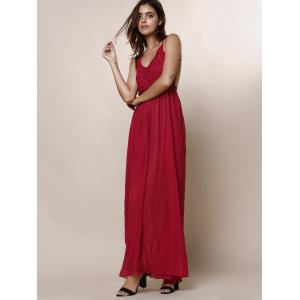 Lace Panel Backless Long Slip Beach Maxi Dress - WINE RED S