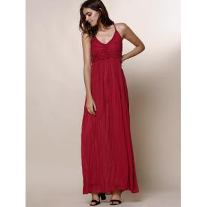 Maxi Backless Slip Beach Lace Insert Dress - WINE RED XL