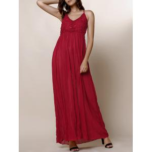 Maxi Backless Slip Beach Lace Insert Dress - Wine Red - L